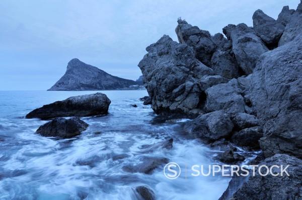 Stock Photo: 1669-33248 Black Sea coast on Crimea in Ukraine with Koba_Kaya Mountain