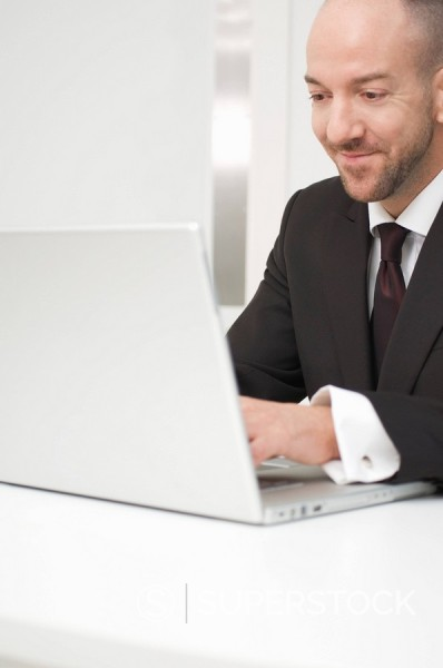 Stock Photo: 1669R-10750 portrait of businessman writing on laptop computer