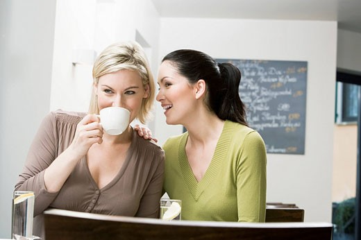 Stock Photo: 1669R-11317 two female friends at restaurant whispering to each other