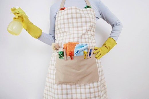 Stock Photo: 1669R-13069 detail of woman ready to do housework holding spray bottle