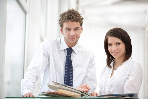 portrait of young businessman and businesswoman : Stock Photo