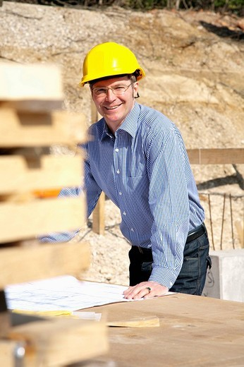 portrait of architect on construction site : Stock Photo