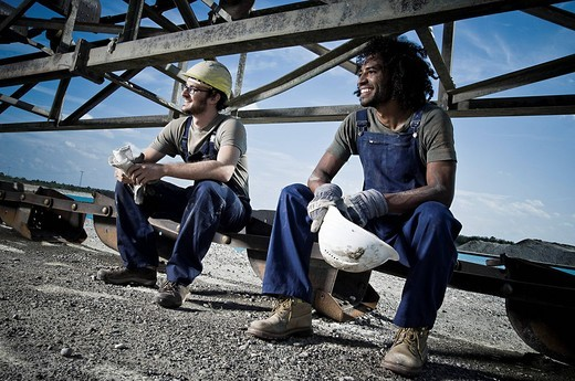 portrait of two worker taking break : Stock Photo