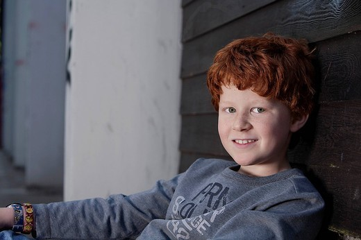 portrait of red haired boy : Stock Photo