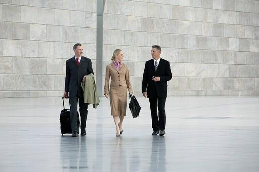 Stock Photo: 1669R-31368 three business people walking through hall