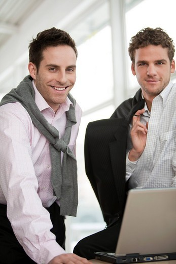 Stock Photo: 1669R-31981 portrait of two young businessmen