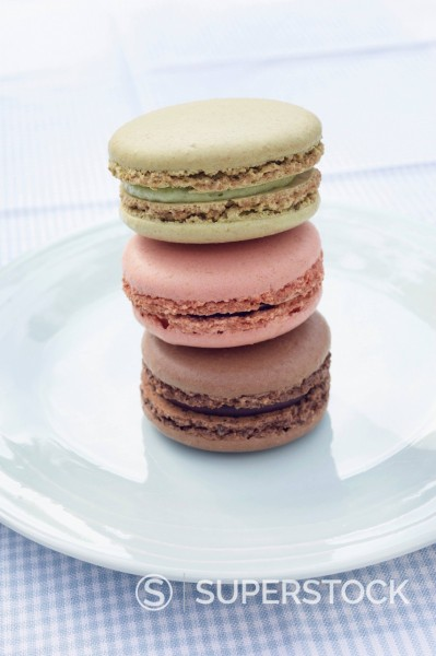 Stock Photo: 1669R-32681 pile of three macarons