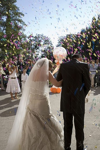 Stock Photo: 1669R-7302 Rear view of bride and groom leaving church and guest throwing flower petals