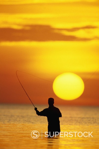 Stock Photo: 1669R-7855 USA, Florida, Keys, fly fisherman