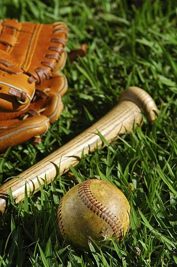 Stock Photo: 1669R-8162 Baseball equipment