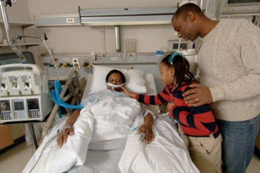 The patient is in the intensive care unit and is on a respiratory ventilator. : Stock Photo