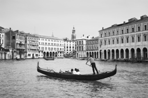 Italy, Veneto, Venice, Grand Canal, gondola, side view, (B&W) : Stock Photo