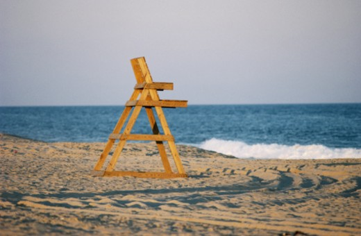 USA, New York, Amagansett, life guards chair on beach, summer : Stock Photo