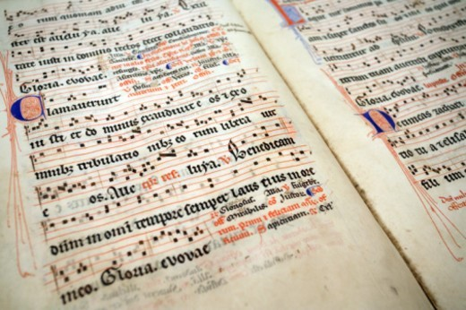 Croatia, Hvar, Stari Grad, 15th Century Latin musical manuscript : Stock Photo