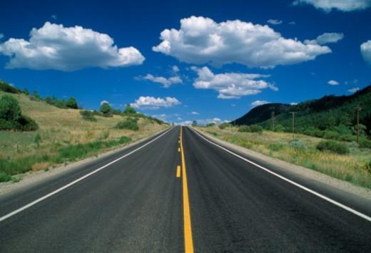 USA, New Mexico, empty road : Stock Photo
