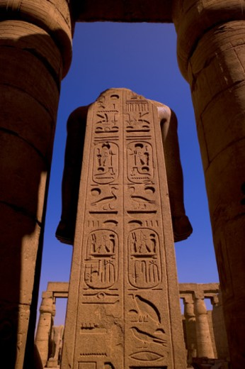 Egypt, Luxor, Temple of Luxor, hieroglyphs on obeliisk at entrance : Stock Photo