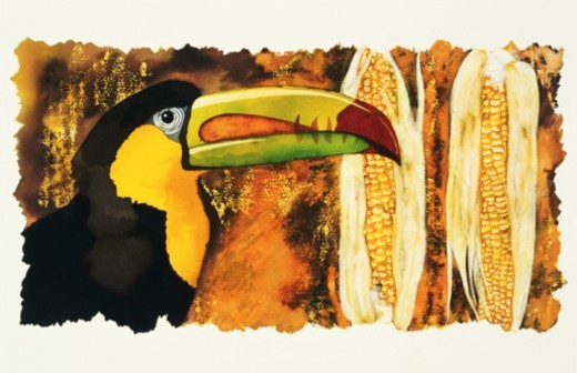 Stock Photo: 1672R-13236 Painted toucan and corns
