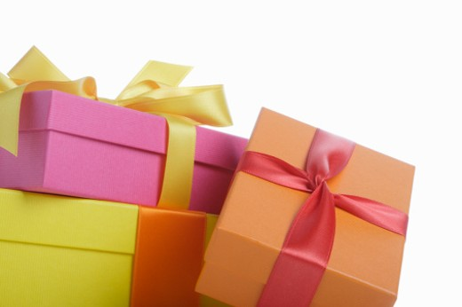 Stock Photo: 1672R-14710 Three gift boxes, close-up