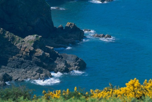 Stock Photo: 1672R-16007 France, Brittany, coastline, elevated view