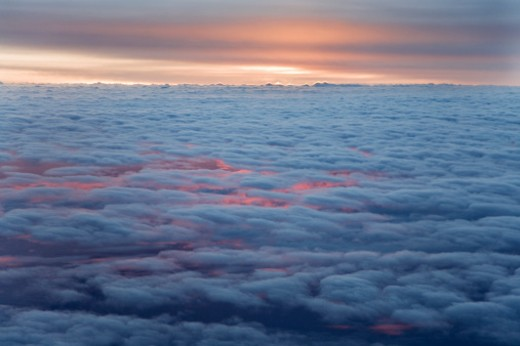 Clouds, aerial view, dawn : Stock Photo