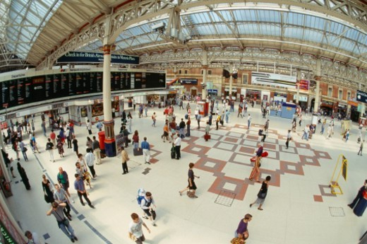 Stock Photo: 1672R-16319 England, London, Victoria Station, elevated view, wide angle view
