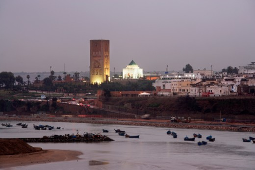 Stock Photo: 1672R-16372 Oued Bou Regreg River in foreground, January 2007