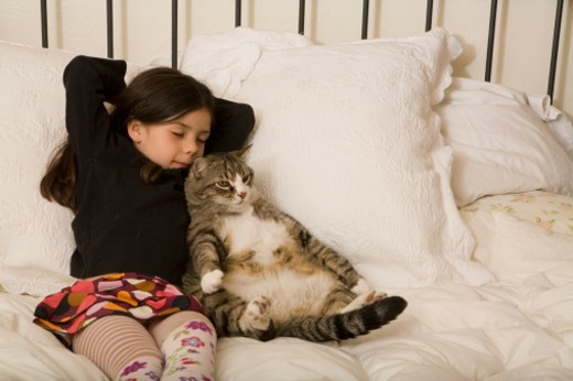 Stock Photo: 1672R-16548 Girl (5-7) and cat lying on bed