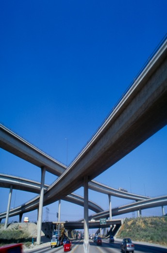 USA, California, Los Angeles, highway overpasses : Stock Photo