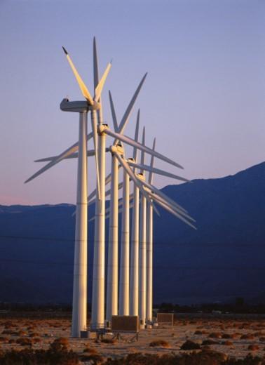 Row of wind turbines : Stock Photo
