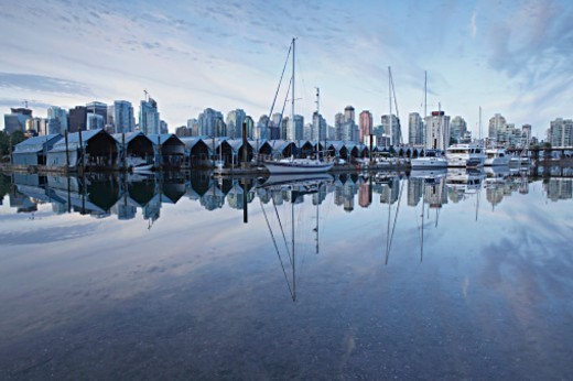 Canada, British Columbia, Vancouver, boats moored at harbour : Stock Photo