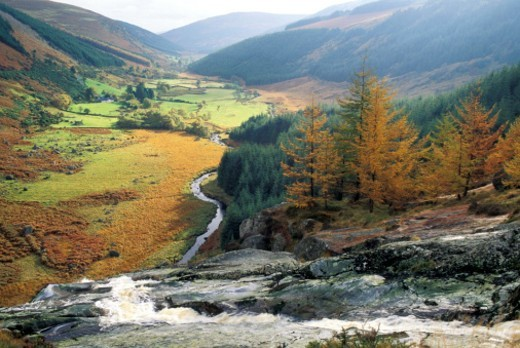 Stock Photo: 1672R-18363 Ireland, County Wicklow, Southeast, Powers Court Waterfall and mountain backdrop