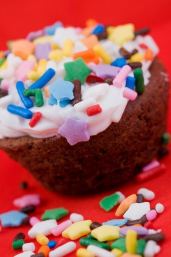 Stock Photo: 1672R-19678 Chocolate cupcakes with icing and sprinkles, close-up