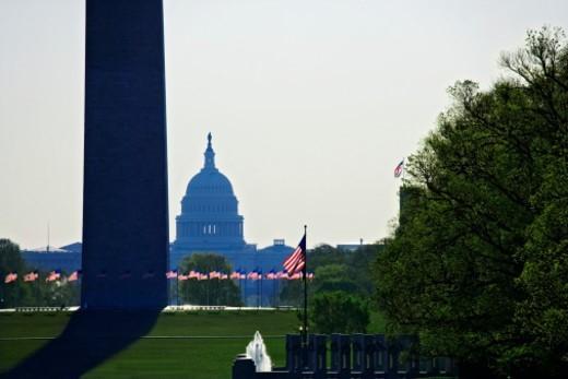USA, Washington, DC, Capitol and Washington Monument from Linclon Memorial : Stock Photo