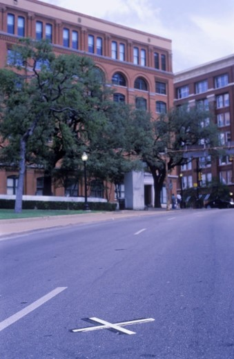 USA, Texas, Dallas, Elm Street, X of road where John F. Kennedy was shot : Stock Photo