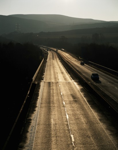Stock Photo: 1672R-2143 Morning, Jan 2006, Colinton, Edinburgh B7 dual carriageway.
