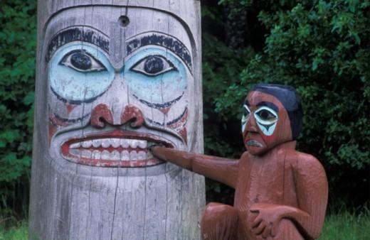 USA, Alaska, Ketchikan, Totem Heritage Center, totem pole, close-up : Stock Photo
