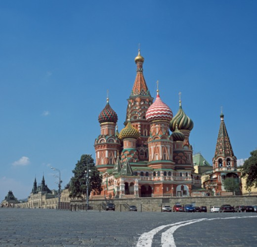 Russia, Moscow, Red Square, St Basil Cathedral, blue sky : Stock Photo