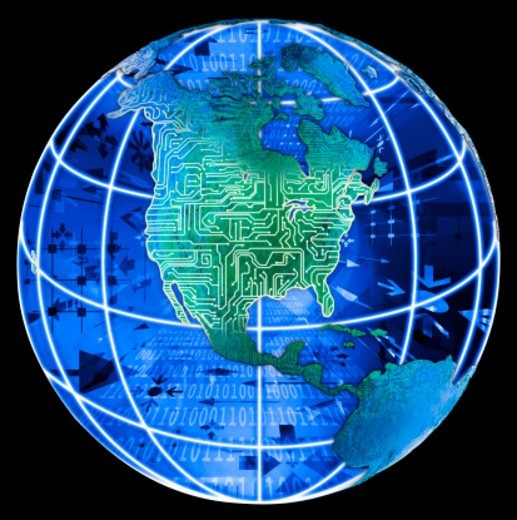Stock Photo: 1672R-24101 Globe on North America with electric grid, black background