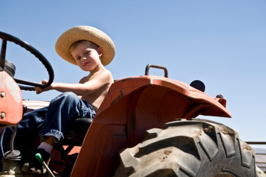 Stock Photo: 1672R-24897 Boy (4-5) sitting on tractor, portrait