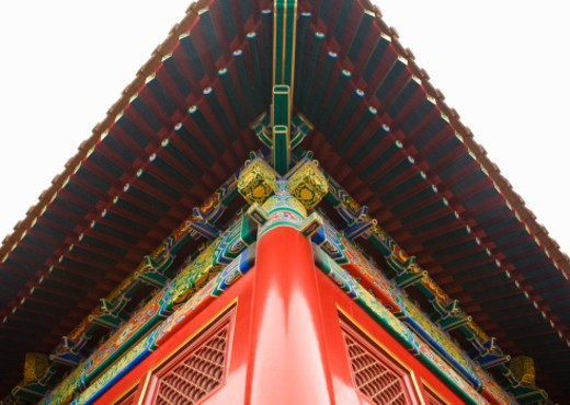 China, Beijing, roofline of Forbidden City, low angle view : Stock Photo