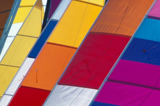 Stock Photo: 1672R-27327 Various coloured sails on boats, close-up