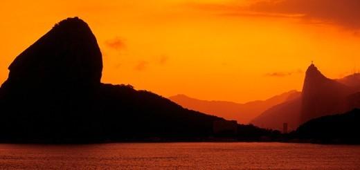 Brazil, Rio de Janeiro, Sugar Loaf, sunset : Stock Photo
