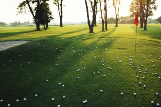 Golf green with lots of golf balls, dusk : Stock Photo