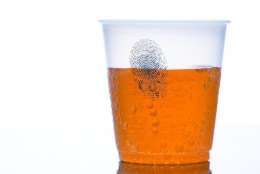 Stock Photo: 1672R-27977 Fingerprint on glass, studio shot