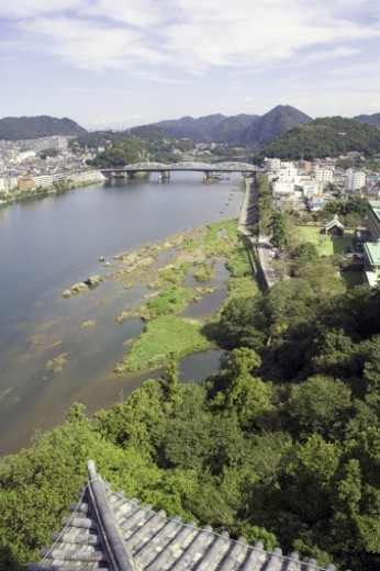 Japan, Aichi, Inuyama City, Kiso river, elevated view from Inuyama castle : Stock Photo