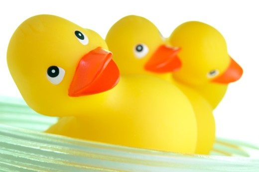 Three rubber ducks in dish : Stock Photo