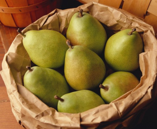 Anjou pears in brown paper sack : Stock Photo