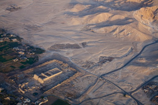 the Temple of Rameses 111 near the Valley of the Kings viewed from a hot air balloon : Stock Photo