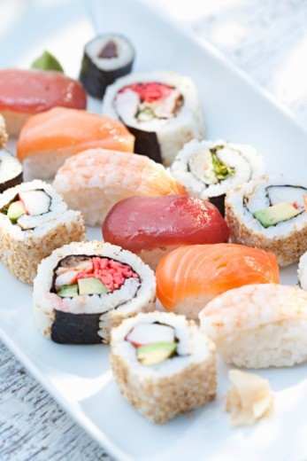 Assorted selection of Japanese food. : Stock Photo