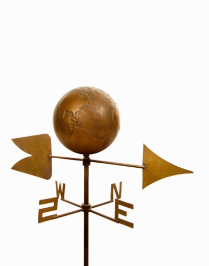 Stock Photo: 1672R-31507 Wind vane with antique brass globe on top